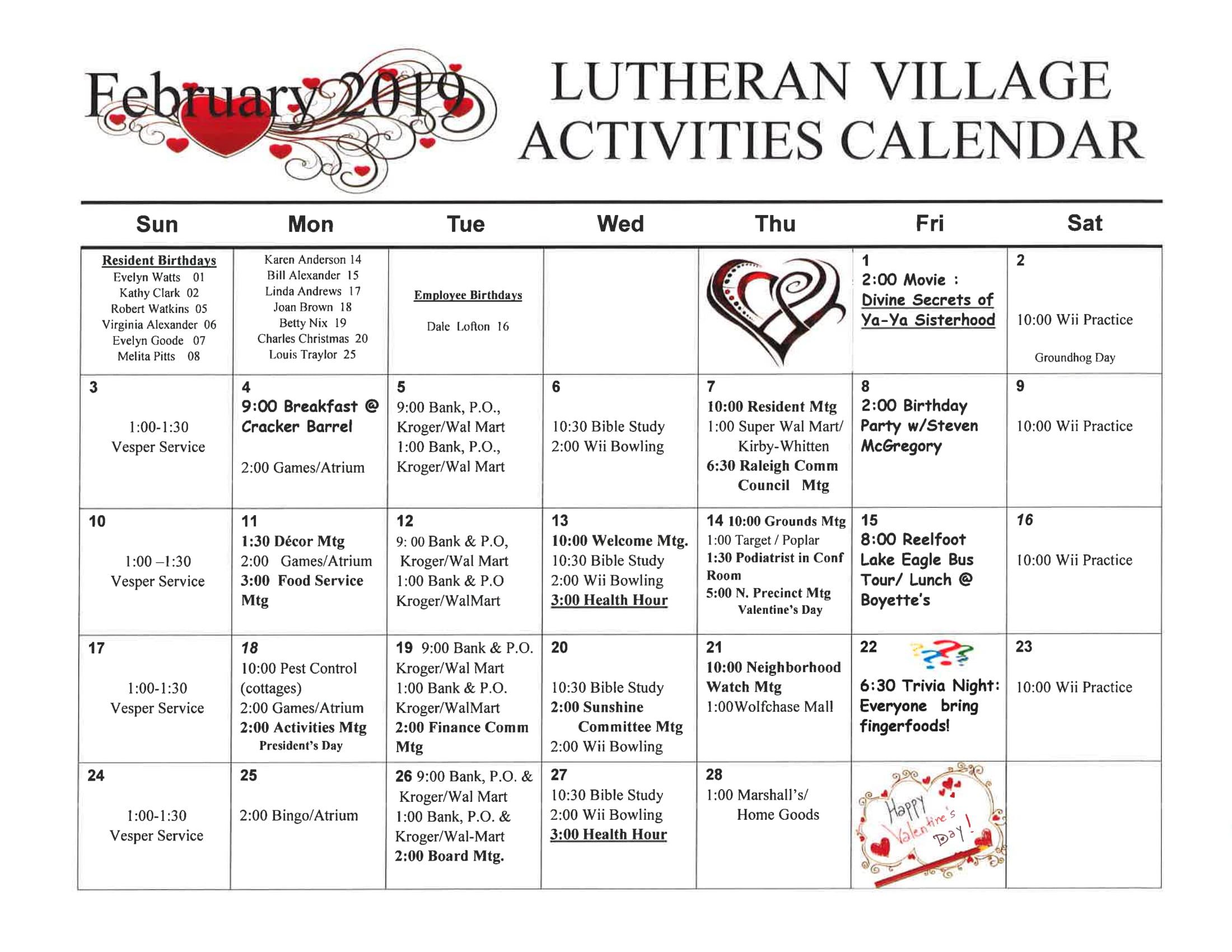 February Activities Calendar